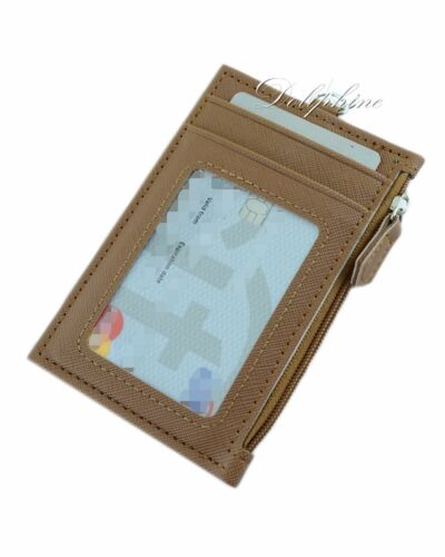 zipper Purse and lanyard Multi Color PU Leather ID Holder with 4 card slots