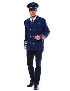 Volo Capitano Costume pilota NUOVO-Uomo Carnevale Travestimento Costume