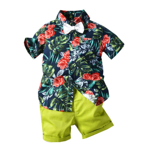 2Pcs Kid Baby Boy Bow Tie Short Sleeve Top T-shirt Pant Beach Outfit Set Holiday