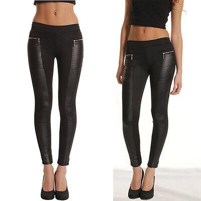 Fashion New Women High Waist Wet Look Faux Leather Leggings Pants Jeggings