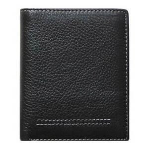 Men's Neat Bi-Fold Black Genuine Leather Wallet ID Credit Card Holder SICILY