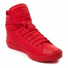 New CONVERSE Chuck Taylor All Star Hi Top Canvas/Leather Sneaker red Size 12