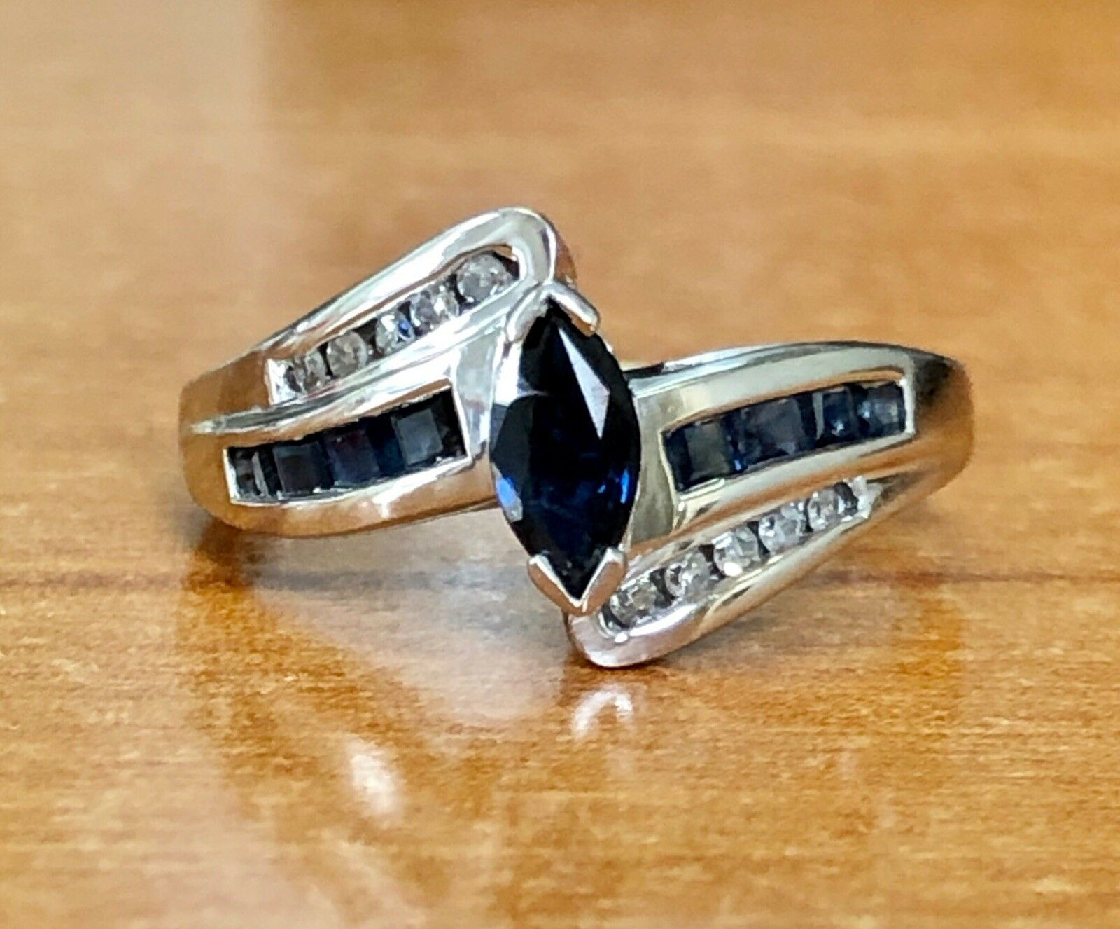 0.78 TCW Natural Diamond & blueee Sapphire 10K Solid White gold Cluster Ring