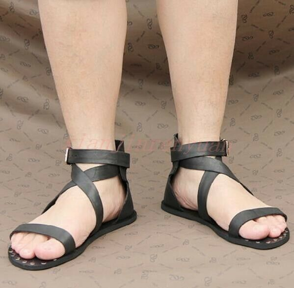 Roman Mens shoes Buckle Cross Strap Studded Cut Out Leather Beach Sandals Retro