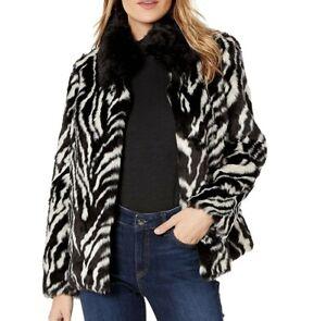L-66-Sam-Edelman-Zebra-stripe-Faux-Fur-Jacket-BLACK-size-S-new