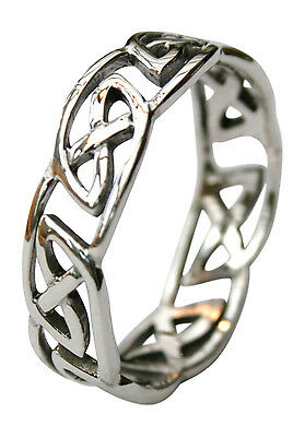 Ladies Solid 925 Sterling Silver 7mm Celtic Finger/Thumb Ring Sizes N - Z