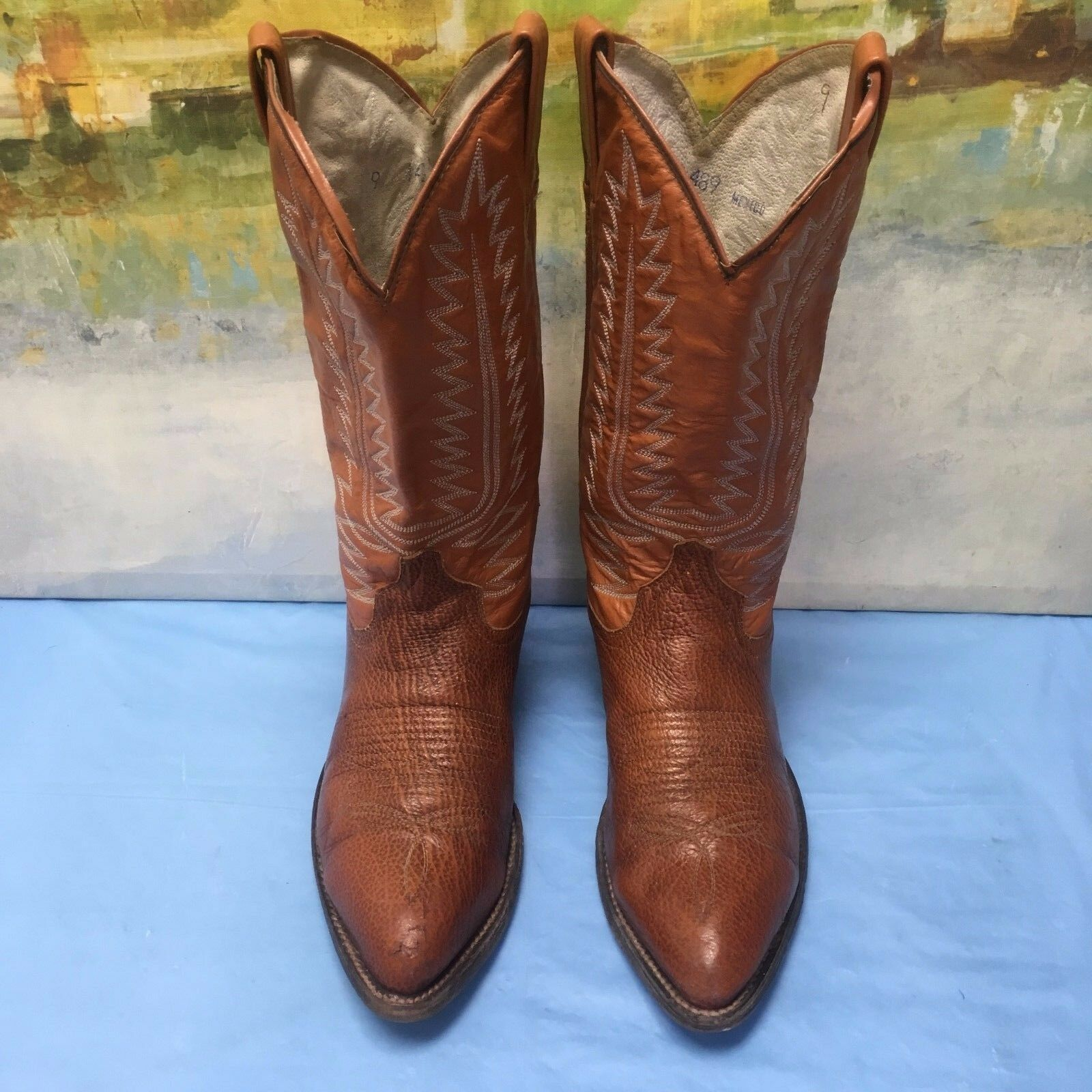Cowtown Brown Leather Cowboy Western Boots Size 9