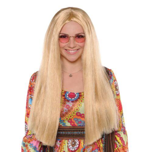60s Hippie Blonde Straight Wig Retro Ladies Wig Fancy Dress Costume Accessory