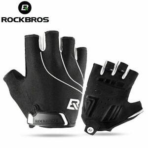 RockBros Cycling Short Half Finger Shockproof Breathable Gloves Black White