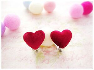 cute girls kids clip on earrings red heart novelty children 39 s costume women gift ebay. Black Bedroom Furniture Sets. Home Design Ideas