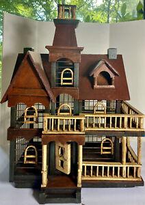 Large-Victorian-Antique-Metal-Wood-Birdcage-Bird-House-Functional-Decorative