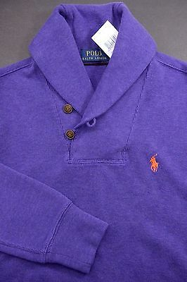 NWT Polo Ralph Lauren Men's Shawl Collar Purple Cotton Sweat Sweater Small