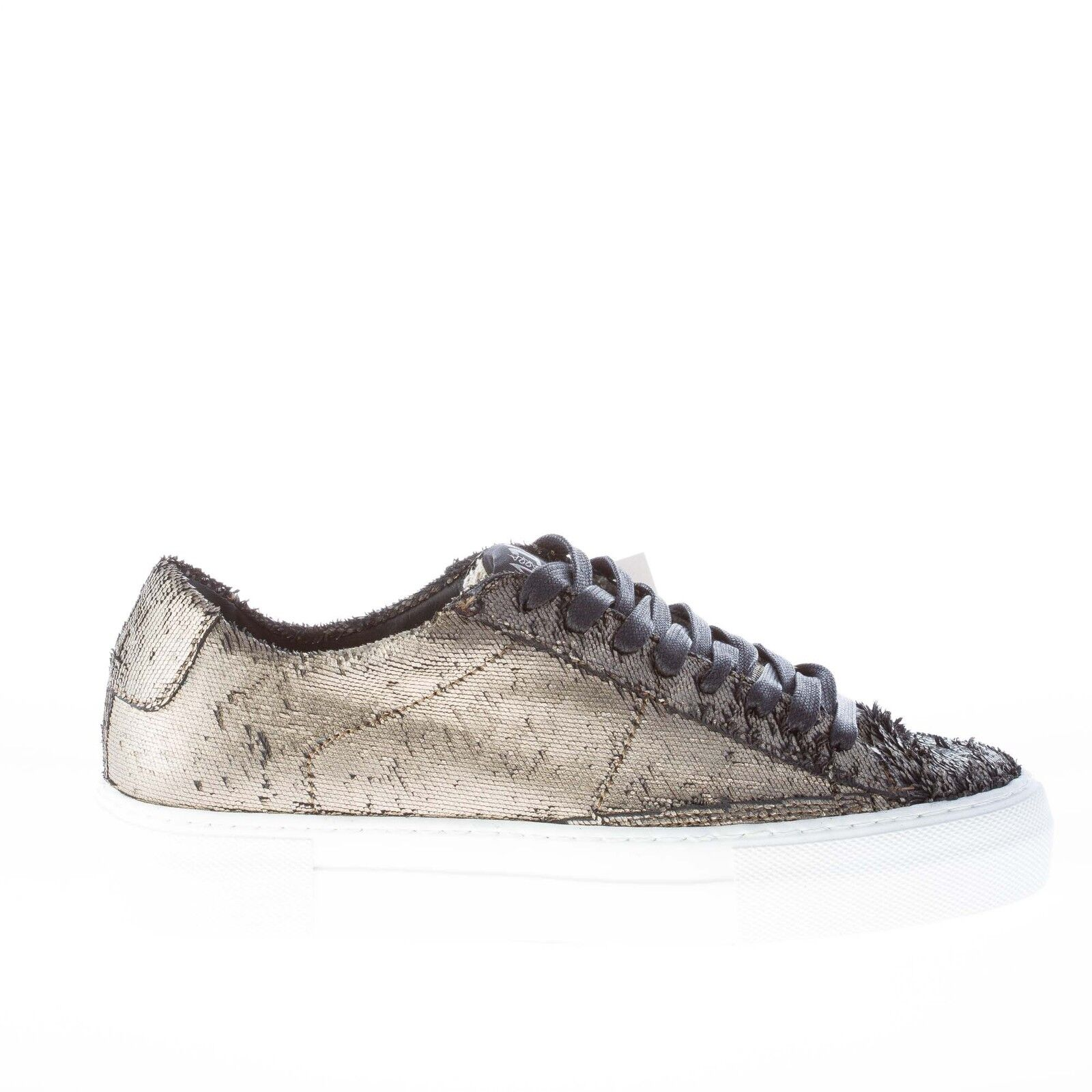 QUBTTROBBRRBDODICI damen schuhe handmade in Italy Platinum laser fabric sneaker