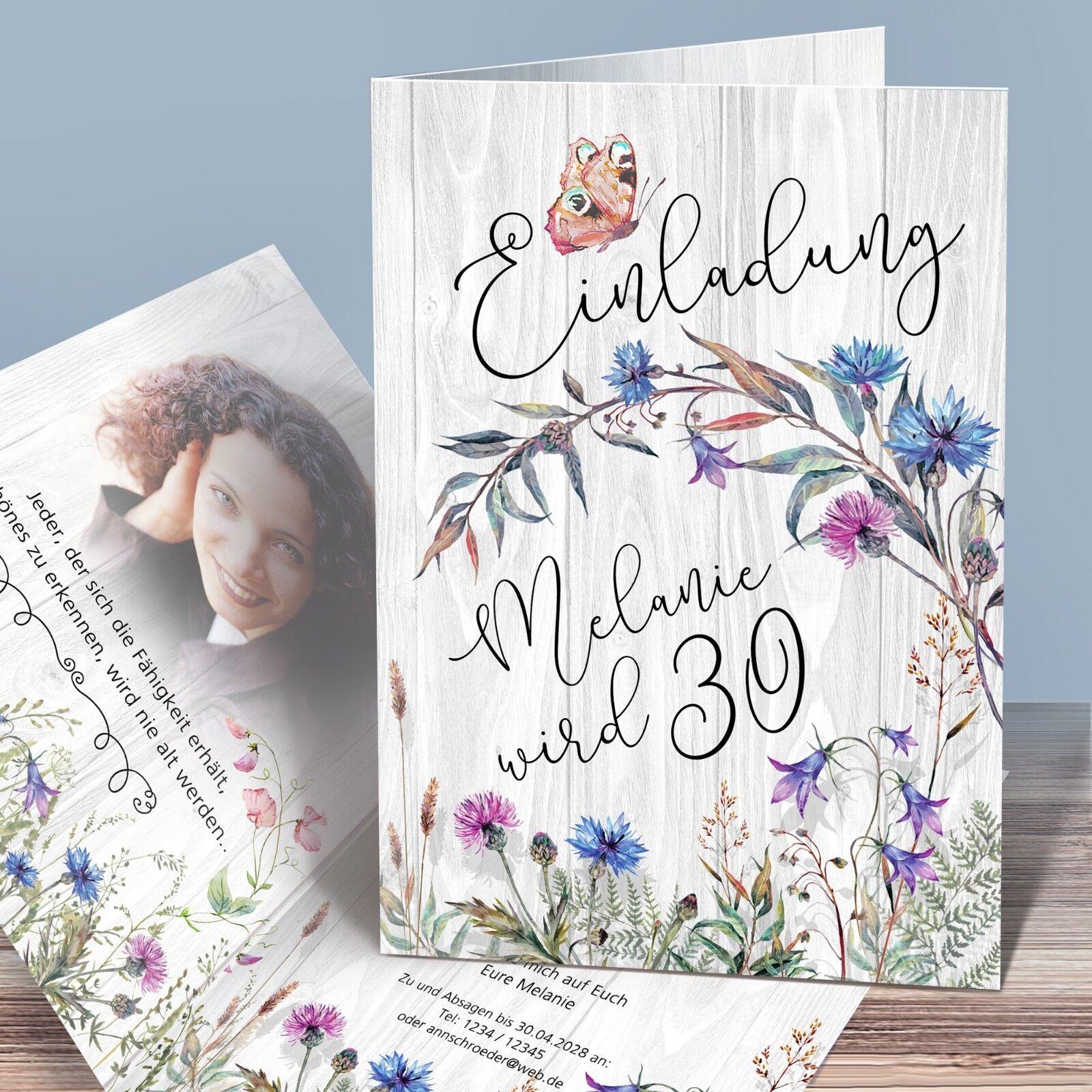 Personalisierte Einladungskarten Geburtstag –  WiesenBlaumen , Boho-Style | Die Königin Der Qualität  | Sehr gelobt und vom Publikum der Verbraucher geschätzt