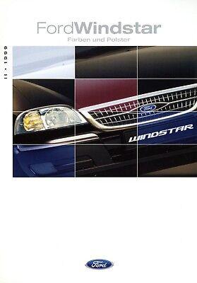 Fornitura Ford Windstar Colori Imbottitura Prospekt 1999 Ii/99 Auto Prospetto Brochure Paintwork- Prima Qualità