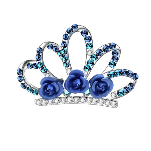 Royal Blue or Rose Pink Headpiece Hair Crown Comb for Girls Prom Party