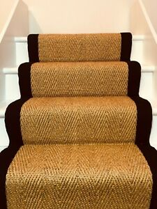 Natural Sisal Herringbone Carpet Stair Runner With Black