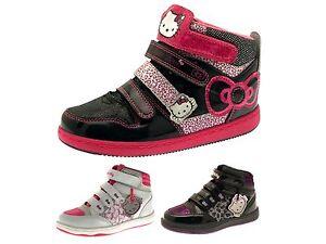 efc6c5c6c Image is loading Girls-Hello-Kitty-Hi-Tops-Boots-Plimsolls-Childrens-