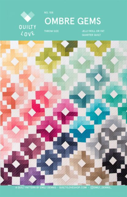 Ombre Gems Jelly Roll Quilt Pattern By Quilty Love 2 Size Designs