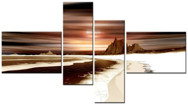 4 PANEL TOTAL 138x78cm  CANVAS WALL ART ABSTRACT PRINT VENUS 3 Brown