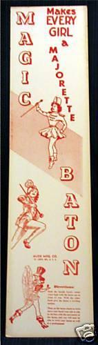 1940/'s Alox  Majorette Magic Baton Store Sign Old Stock