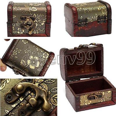 Jewelry Gift Box Pearl Necklace Bracelet Storage Organizer Vintage Wood Holder