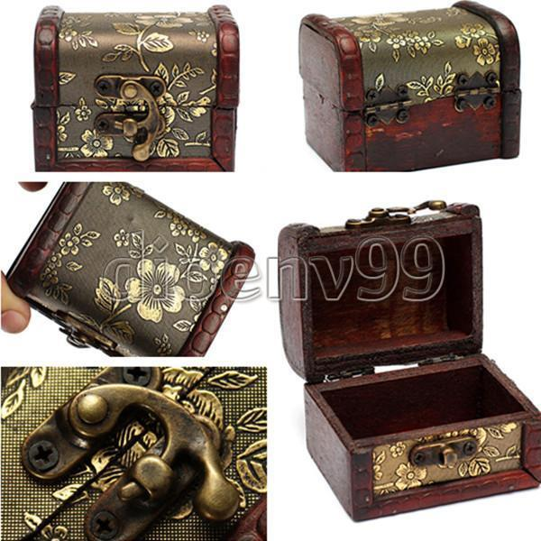 Jewelry Gift Box Pearl Necklace Bracelet Storage Organizer Vintage Wood Holder