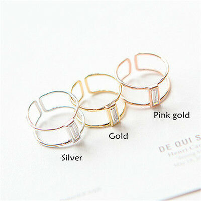 1Pc Double-deck Ring Open Adjustable Ring Fashionable Shining Zircon Ring