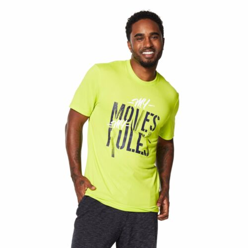 Green Z2T00265 Zumba Men/'s My Moves My Rules Tee