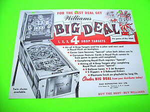 Williams-BIG-DEAL-1963-Original-Flipper-Game-Pinball-Machine-Promo-Flyer-Rare