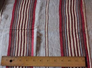 Lovely-Old-19thC-French-Farmhouse-Ticking-Stripe-Fabric-Reds-amp-Yellow