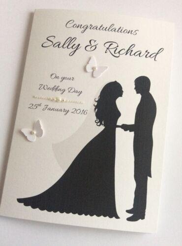 Handmade Personalised Silhouette Bride /& Groom Wedding Day Congratulations Card