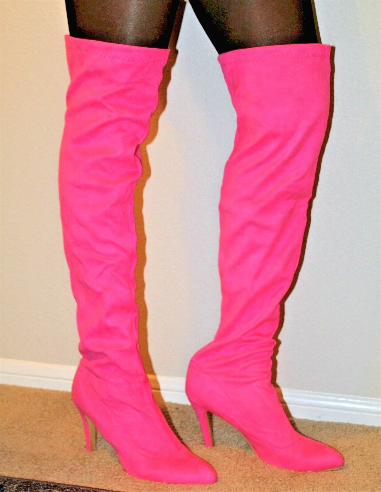 Pink, Over-the-Knee, Faux Suede High High High Heel Boots, Size 13 (EU 44) 264a07
