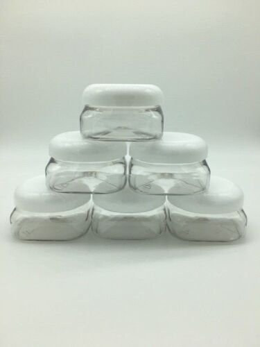 6 PACK 4 oz Extra Wide Mouth Clear Square Base Plastic Jars with Lids