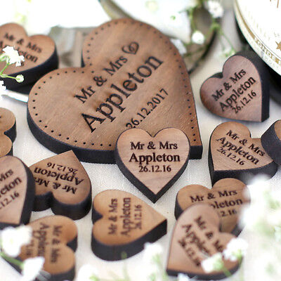 Personalised Wooden Rustic Love  Hearts Wedding Table Decorations Favours