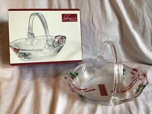 CELEBRATIONS-BY-MIKASA-Holiday-Bells-Collection-Christmas-Glass-Basket-NIB