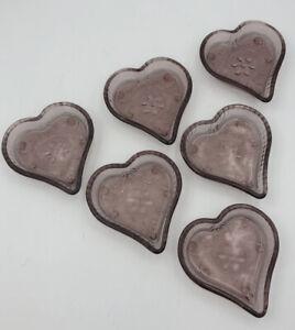 Vintage-Indiana-Tiara-Glass-Purple-Glass-Heart-Candy-Nut-Trinket-Dish-SET-OF-6