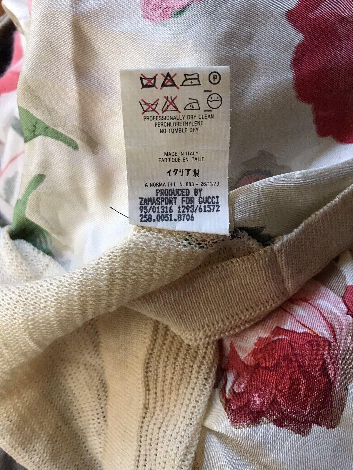 Rare Vtg Gucci 90s Ecru Floral Print Silk Linen B… - image 10
