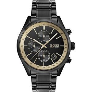 Hugo-Boss-Men-039-s-Grand-Prix-Black-Stainless-Steel-Chronograph-Watch-HB1513578