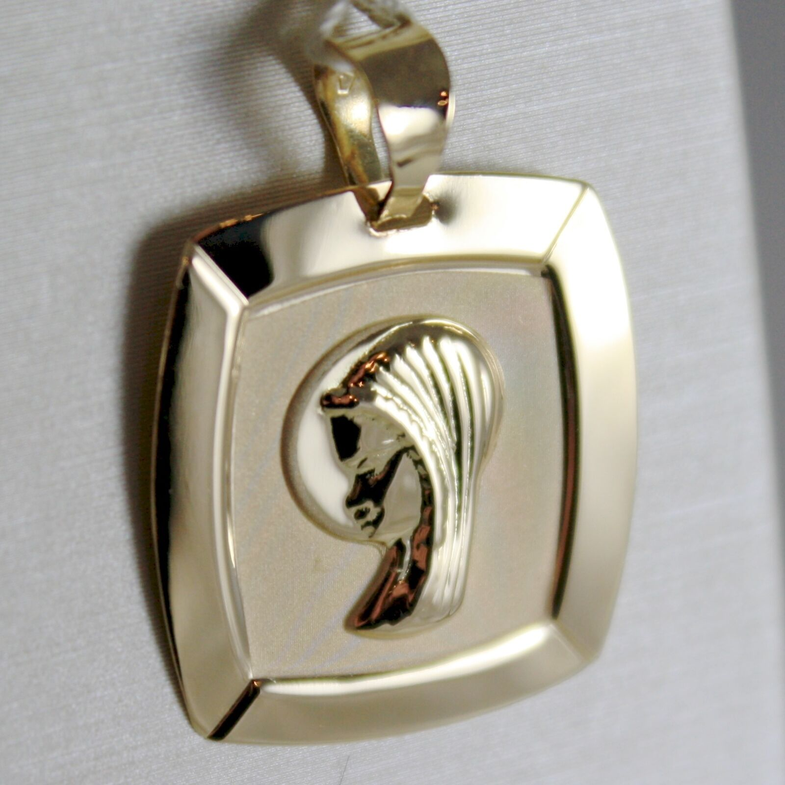 18K YELLOW gold SQUARE MEDAL VIRGIN MARY MAwomen, ENGRAVABLE SATIN MADE IN ITALY