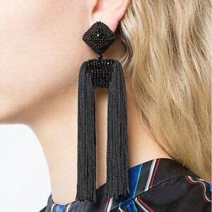 Bohemian-Women-Black-Long-Tassels-Fringe-Boho-Dangle-Earrings-Ear-Stud-Jewelry