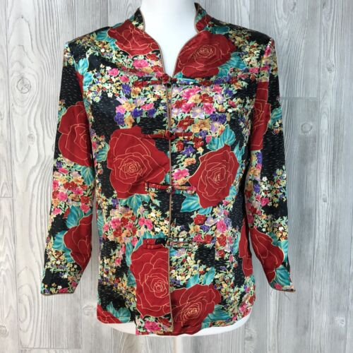 Vtg Top Shirt 80's Asian Red Rose Floral Silk Jacket Shirt Toggle Kimono XL