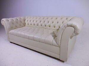 Image Is Loading Classic Tufted Leather Chesterfield Sofa  Mid Century Modern