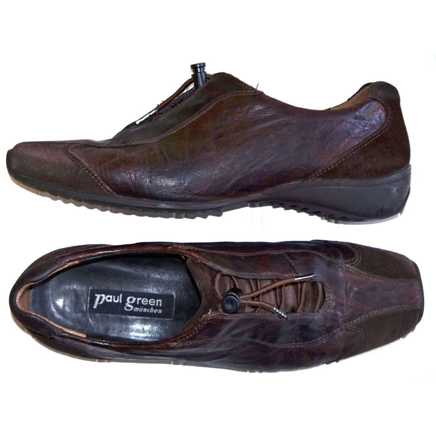 Paul vert Suede Cuir marron Combo Oxford Baskets Taille 4 6.5