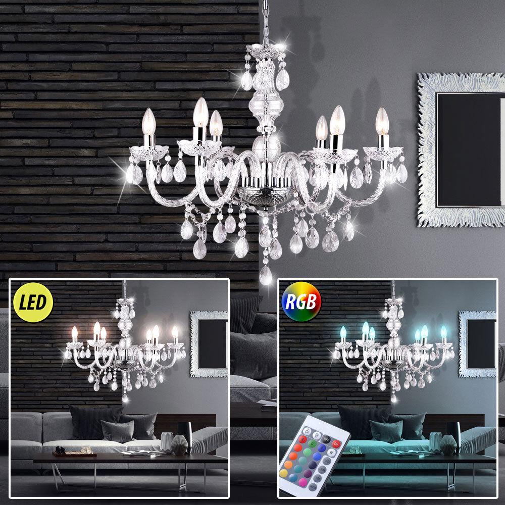 LED Kronleuchter dimmbar Wohn Zimmer Lüster Kristall Behang RGB Big Light