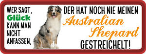 Glück Australien Shepard Dog Tin Sign Shield 10 X 27 CM W270029
