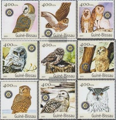 Never Hinged 2001 Birds Learned Guinea-bissau 1437-1445 Unmounted Mint Topical Stamps