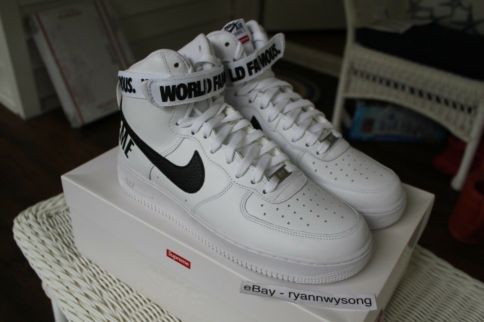 Supreme Nike Air Force 1 High SP White Size 10.5 DS AF1 FW14 RARE BOX LOGO