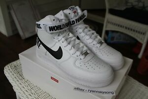 the latest cffe8 168c8 Details about Supreme Nike Air Force 1 High SP White Size 10.5 DS AF1 FW14  RARE BOX LOGO