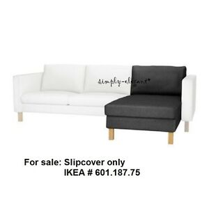 Ikea-Karlstad-Add-on-Chaise-SLIPCOVER-for-Add-on-Chaise-Sivik-Dark-Gray-Cover